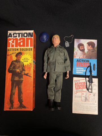 ACTION MAN - 1970 Soldier with Realistic Hair - STUNNING BOX & CONTENTS - FIGURE UNPLAYED WITH